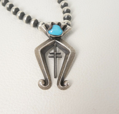 Aaron Anderson silver sandcast and turquoise pendant
