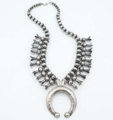 Superb old pawn vintage Navajo silver squash blossom necklace