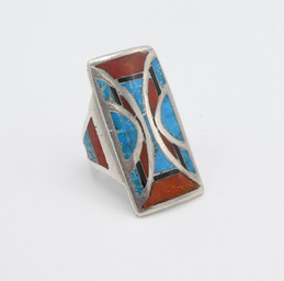 Attributed to Frank Vacit - Coral, jet and turquoise channel inlay silver ring