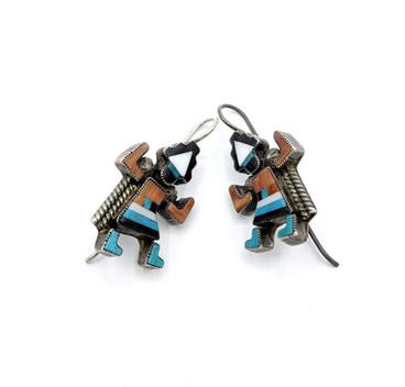 Vintage Zuni inlay rainbow dancer earrings
