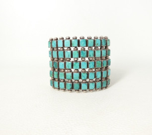 Wondeful vintage five row square cut green turquoise and silver cuff with stamping