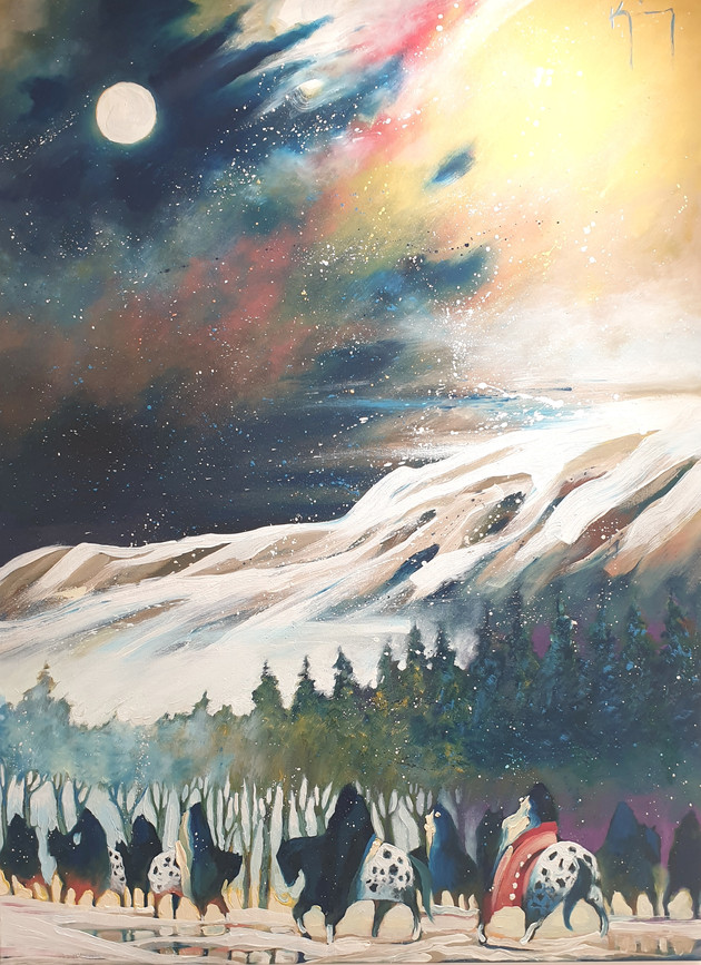Oil on canvas. 'Full Moon on the Foot Hills' by artist Bruce King (1950 - 2019)