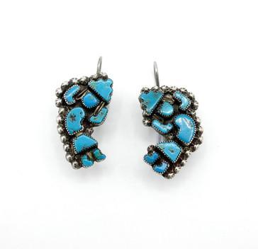 Vintage Zuni turquoise rainbow dancer earrings