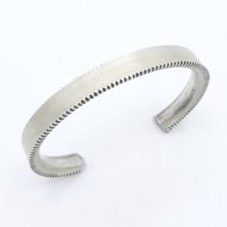 C6 Coin Silver cuff saw tooth edge