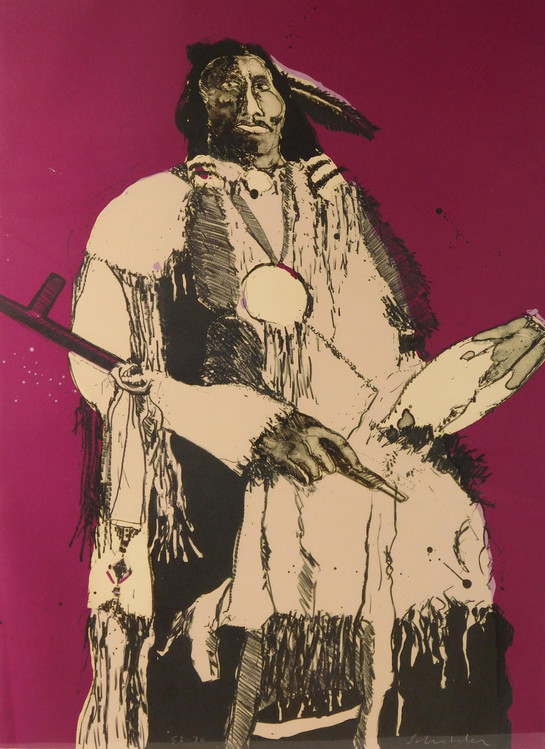 """""""Native American"""" By Fritz Scholder Original lithograph edn.52 of 70."""