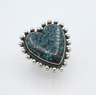 Heart turquoise and silver ring by Mike Bird Romero.