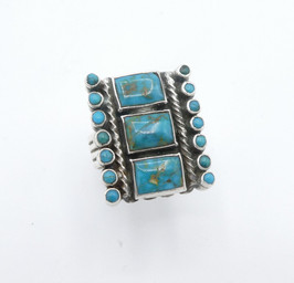 Blue Gem turquoise finely executed, rectangular cut  with petite point ring  ex Sharon Aberle Collection