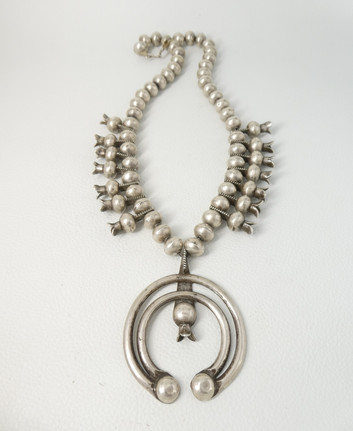 Early 1900's Navajo squash blossom necklace