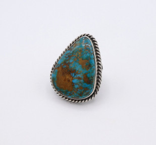 Vintage large triangular turquoise stone and silver Navajo ring