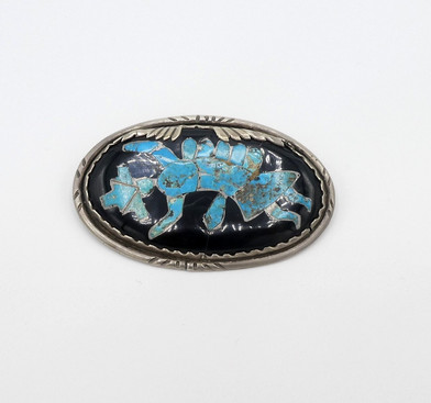 Vintage channel inlay rainbow dancer pin and or pendant