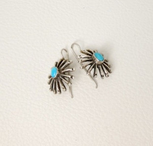 Vintage silver and turquoise sun burst earrings