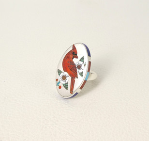R N  Laconsello fine inlay, multi stone, red cardinal ring