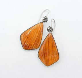 Lovely orange spiny oyster shell and silver earrings by Mike Bird Romero