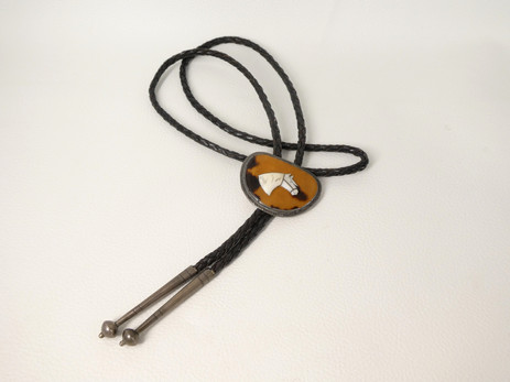 1940's bolo tie with wonderful inlay horse set in silver