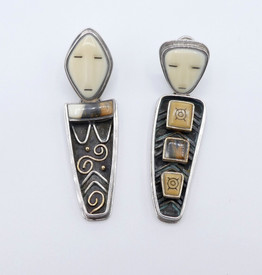 Divine figurative silver and gold with fossilised scrimshawed ivory earrings by Denise Wallace