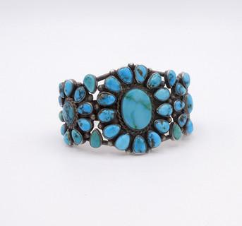 Exquisite turquoise cluster vintage Navajo cuff