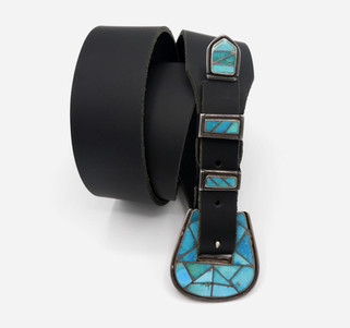 Vintage silver and turquoise channel inlay ranger set.
