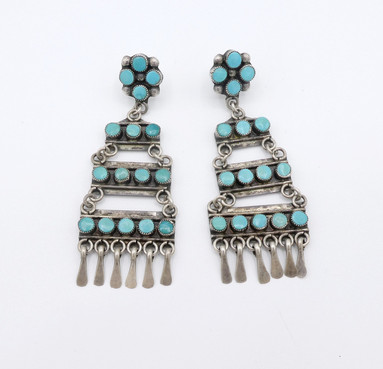Ex Sharon Aberle collection, early Zuni turquoise and silver petit-point earrings.