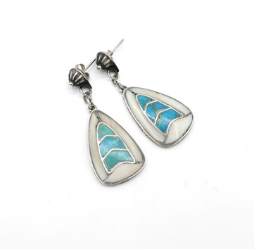Vintage Zuni channel inlay earrings with turquoise and mother of pearl and silver button