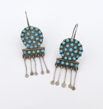 Lovely early Zuni petit-point turquoise earrings with silver fringe.