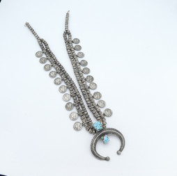 N13 Squash necklace with Mercury dimes and turquoise naja