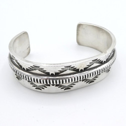 C9 Heavy weight coin silver stamped cuff