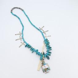 N9 Old Style San Felipe necklace with mosaic thunderbird
