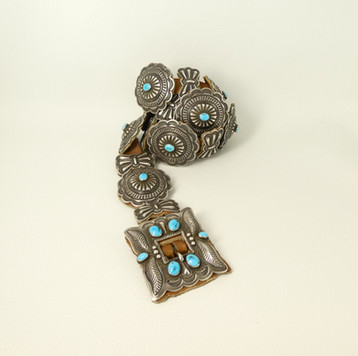 Superb vintage third phase conch belt with sky blue turquoise