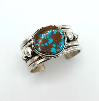 Pilot Mountain turquoise and silver cuff by Mike Bird Romero