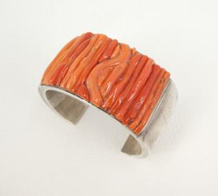 Mary Marie Morgan vintage mediterranean coral & silver cuff