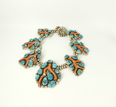 Dan Simplicio branch coral and turquoise  necklace with silver beads