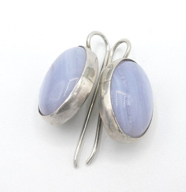 Contemporary Navajo lavender agate and silver earrings.
