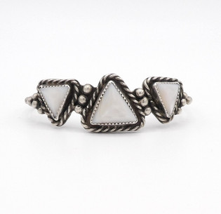 Vintage Navajo silver twist wire cuff set with mother of pearl