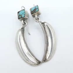 E12. Silver Moon earrings with Turquoise