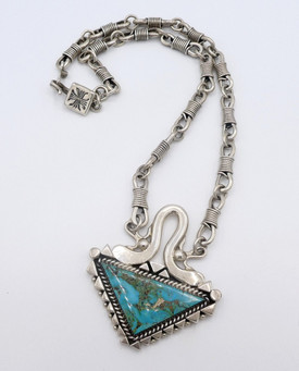 Orville Tsinnie silver and turquiose necklace.