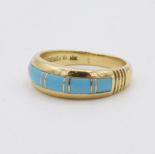 Contemporary Zuni channel inlay gold and turquoise ring.