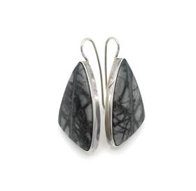 Contemporary Navajo earrings set with ocean jasper