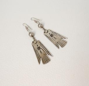 Silver vintage Navajo thunderbird earrings