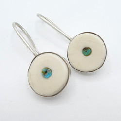 E7 Old style earring fossil ivory with turquoise bead