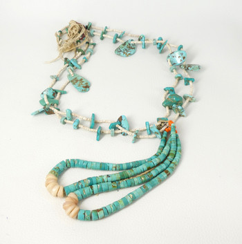 Vintage clam shell heishi, turquoise nugget necklace with jochlas