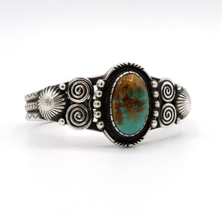 Contemporary silver cuff with turquoise by Navajo artist Calvin Martinez