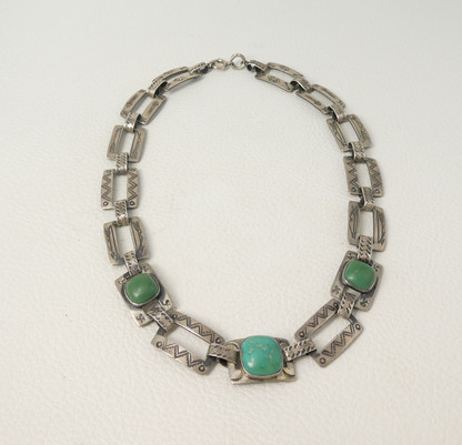 Fred Harvey necklace set with green turquoise