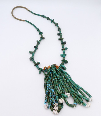 Ex Sharon Aberle vintage green turquoise tab necklace with 5 sets of jochlas  tab necklace with many jochlas.