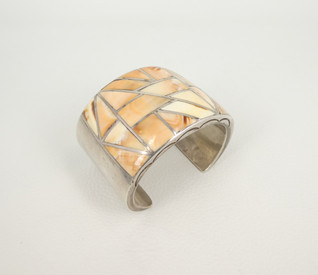 Vintage wide  channel inlay melon shell & silver cuff