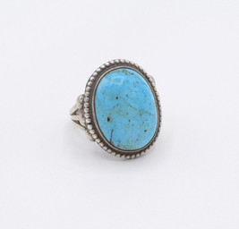 Navajo ring with high domed cut and set turquoise