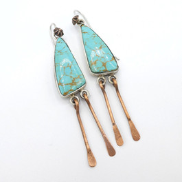 Mike Bird Romero - Nevada turquoise silver and copper earrings.