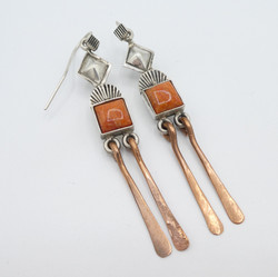 E2 Coral with silver and copper earrings