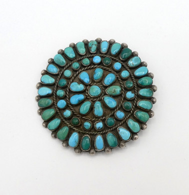 Vintage turquoise and silver Zuni cluster pin and or pendant