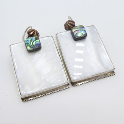 E4 Sqaure mother of pearl and abalone errings