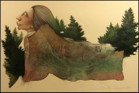 Frank Howell original stone lithograph 'Sedona Autumn'